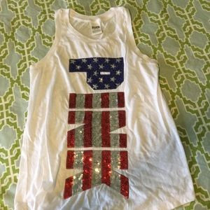 PINK red white and blue sequin tank!